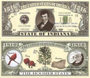 INDIANA THE HOOSIER STATE 1816 DOLLAR BILLS x 4 IN
