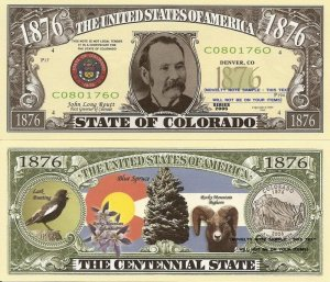 COLORADO THE CENTENNIAL STATE 1876 DOLLAR BILLS x 4 CO