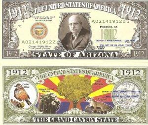 ARIZONA THE GRAND CANYON STATE 1912 DOLLAR BILLS x 4 AZ