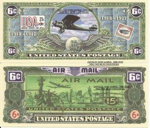 UNITED STATES POSTAL SERVICE 6c AIR MAIL BILLS x 4