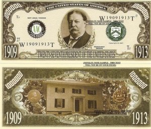 27th PRESIDENT WILLIAM HOWARD TAFT DOLLAR BILLS x 4
