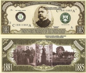 21st PRESIDENT CHESTER A ARTHUR MILLION DOLLAR BILLS x 4