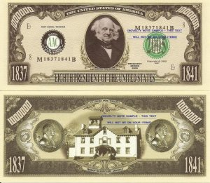 8th PRESIDENT MARTIN VAN BUREN MILLION DOLLAR BILLS x 4