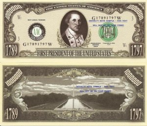 1st PRESIDENT GEORGE WASHINGTON MILLION DOLLAR BILLS x4