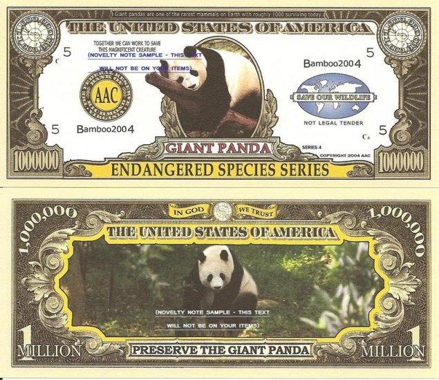 GIANT PANDA ENDANGERED SPECIES MILLION DOLLAR BILLS x 4