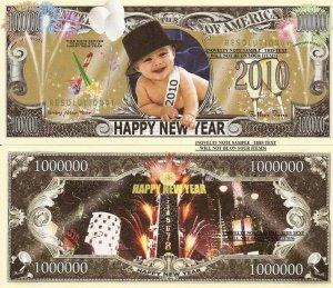 HAPPY NEW YEAR 2010 BABY MILLION DOLLAR BILLS x 4 NEW