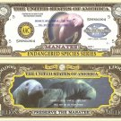 MANATEE ENDANGERED SPECIES ONE MILLION DOLLAR BILLS x 4