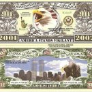 9/11 AMERICA STANDS VIGILANT 2001 2002 DOLLAR BILLS x 4