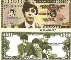 PAUL MCCARTNEY THE BEATLES MILLION DOLLAR BILLS x 4 NEW