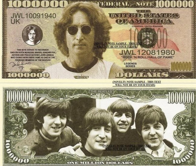 JOHN LENNON THE BEATLES MILLION DOLLAR BILLS x 4 NEW