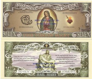VIRGIN MARY SEVEN SORROWS BLESSED LADY DOLLAR BILLS x 4
