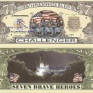 CHALLENGER SPACE SHUTTLE COMMEMORATION DOLLAR BILLS x 4
