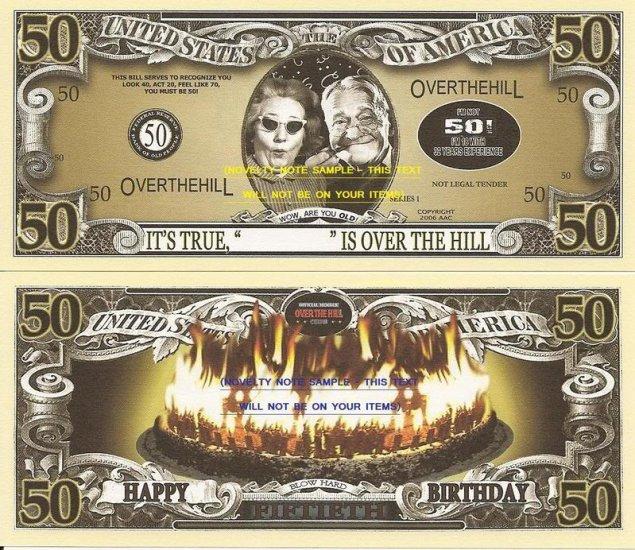 50th BIRTHDAY OVER THE HILL DOLLAR BILLS x 4 GIFT NEW