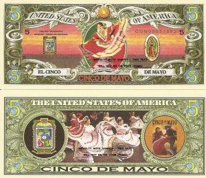 CINCO DE MAYO MEXICAN JALISCO DANCER 5 DOLLAR BILLS x 4