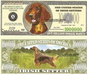 IRISH SETTER DOG ONE MILLION DOLLAR BILLS x 4 NEW GIFT