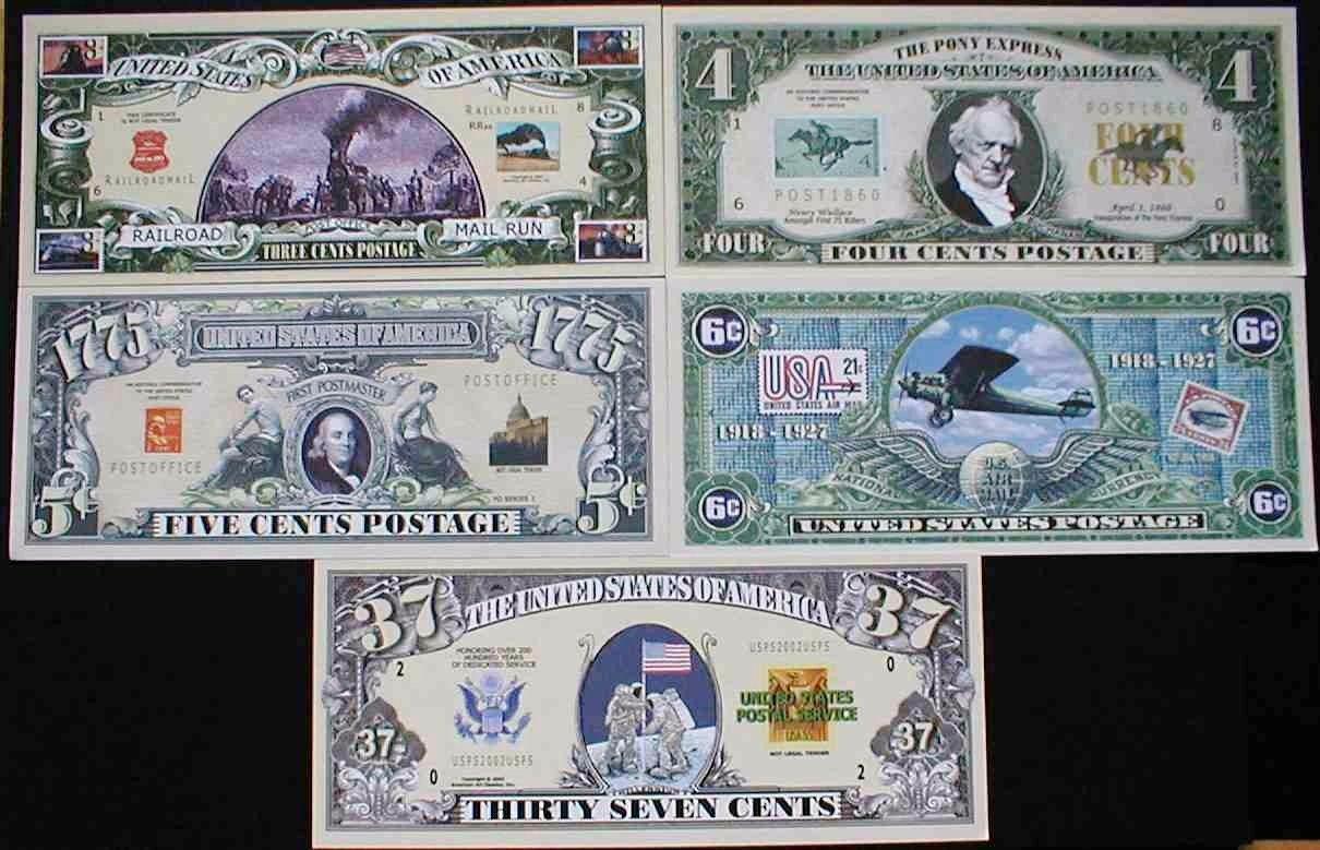 UNITED STATES POSTAL SERVICE USPS HISTORY BILLS SET of 5