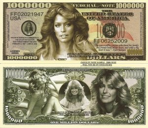 FARRAH FAWCETT MAJORS COMMEMORATIVE DOLLAR BILLS x 4