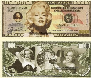 MARILYN MONROE NORMA JEANE MORTENSON DOLLAR BILLS x 4