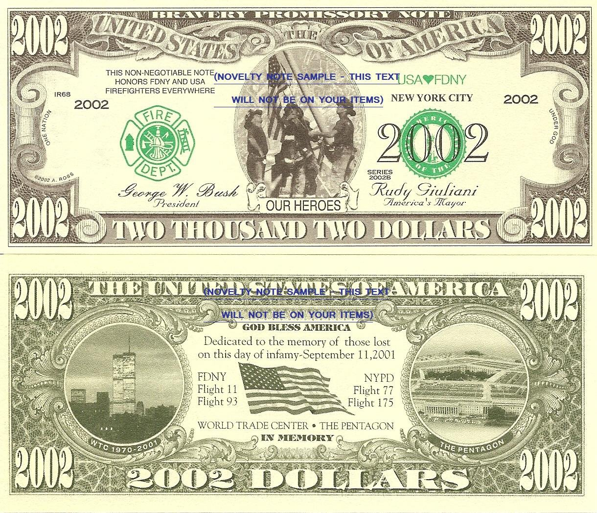 9/11 OUR HEROES FIRE FIGHTERS USA 2002 DOLLAR BILLS x 4