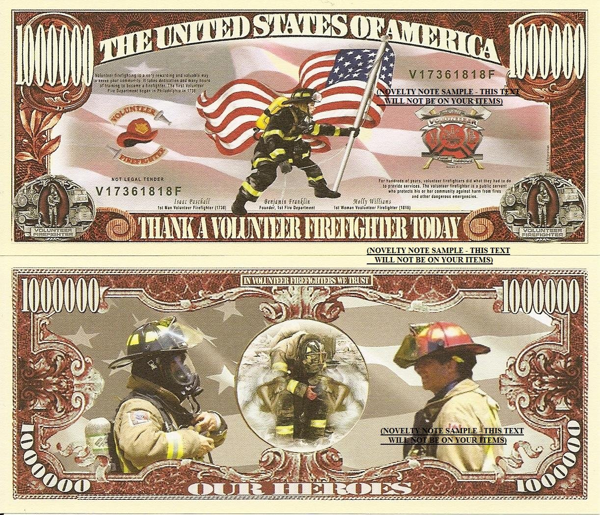 THANK A VOLUNTEER FIRE FIGHTER MILLION DOLLAR BILLS x 4