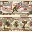 THANK A VOLUNTEER FIRE FIGHTER MILLION DOLLAR BILLS x 4