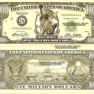 Miss Liberty New York Statue Million Dollar Bills x 4 United States of America