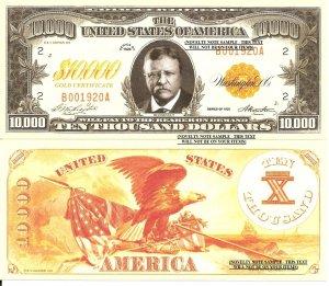 Roosevelt Gold Certificate 10,000 Dollar Bills x 4 United States President Eagle