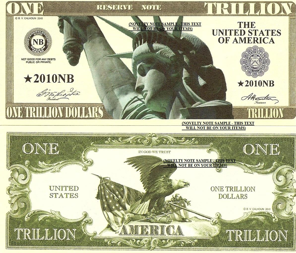 Statue of Liberty Eagle One Trillion Dollar Bills x 4 United States America