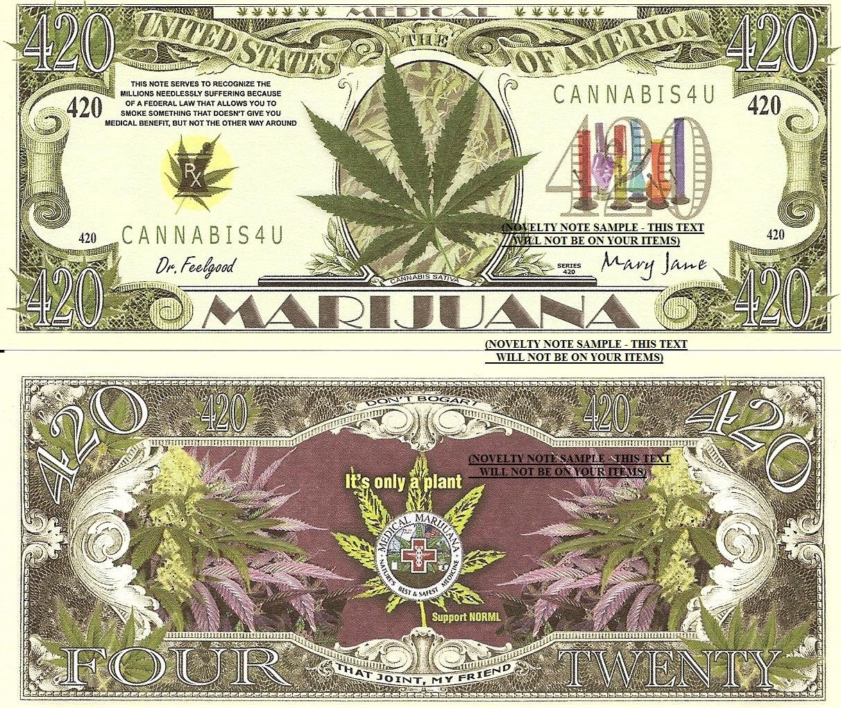 Medical Marijuana Cannabis Satvia 420 Dollar Bills x 4