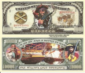 Pirates Captain Kidd One Million Gold Doubloons x 4 Paper Dollar Bill Type