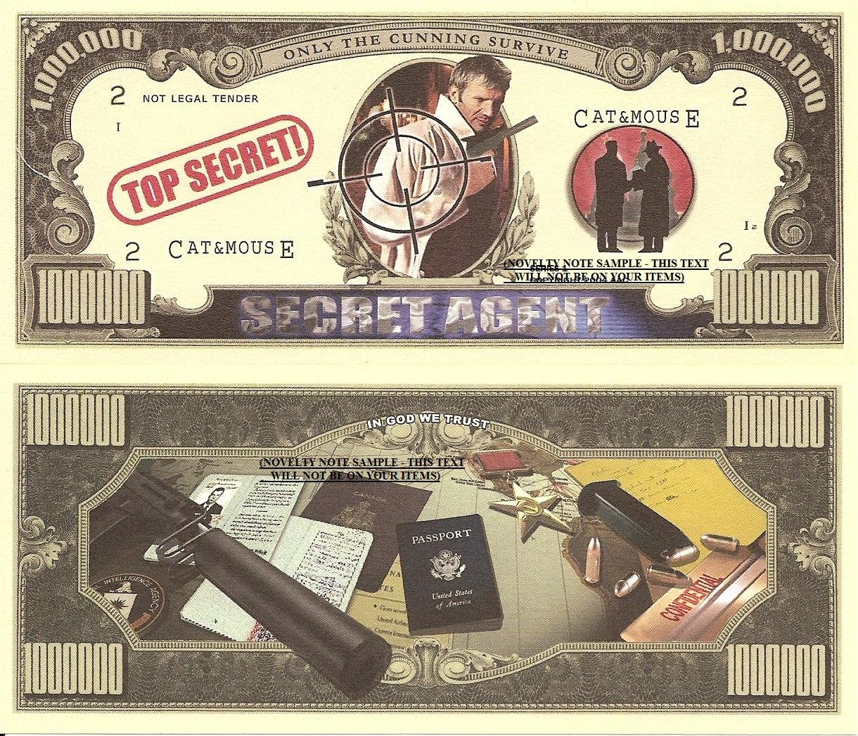 Secret Agent Spy Top Secret Million Dollar Bills x 4 Only the Cunning Survive