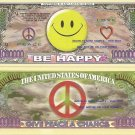 Smile Be Happy Peace Love Smiley Face Dollar Bills x 4 Sunny Side of the Street