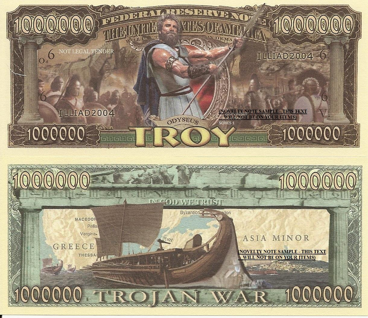 Troy Odyseus Trojan War Lliad Million Dollar Bills x 4 Ancient Greece Mythology