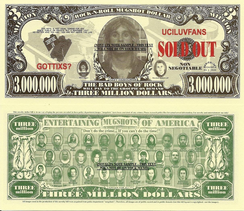 Ozzy Osbourne Rock N Roll Mug Shot Dollar Bills x 4 Plus Bad Boys Girls of Music
