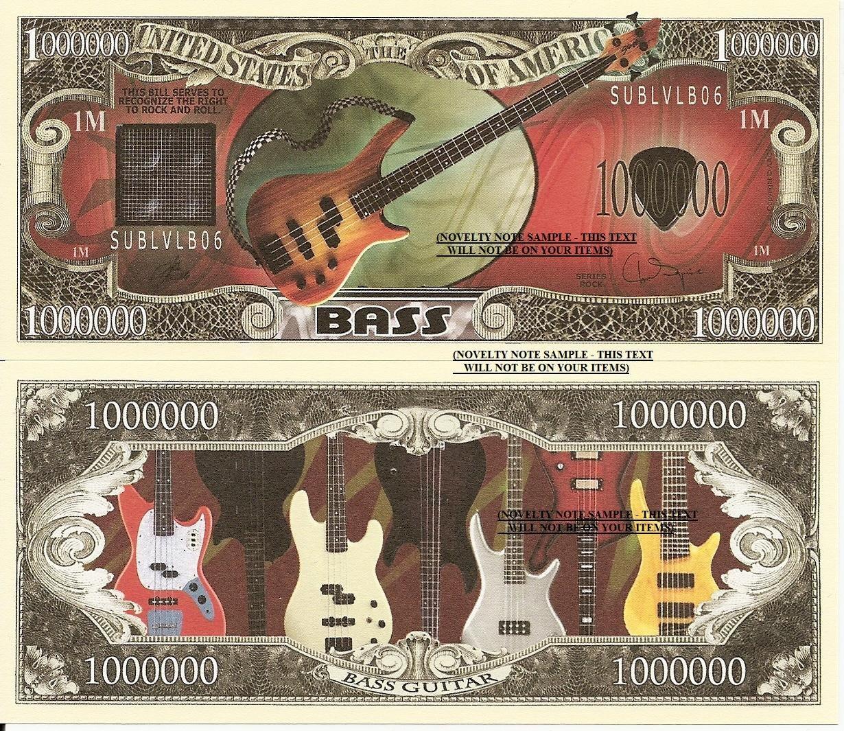 Bass Classic Guitar Drums Keyboard Musical Instruments Dollar Bills Set of 8