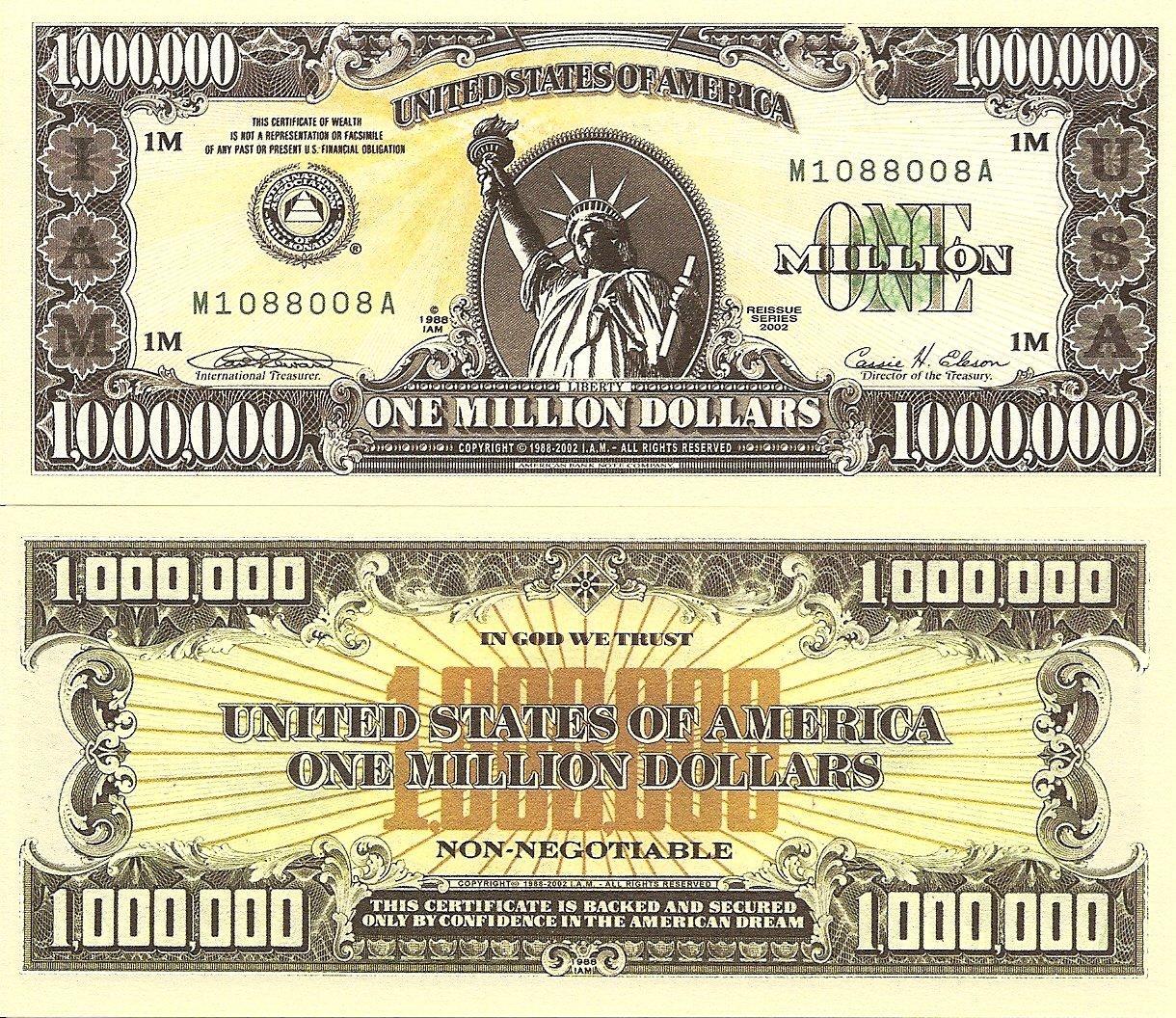 International Association Millionaires Dollar Bills x 2 United States America