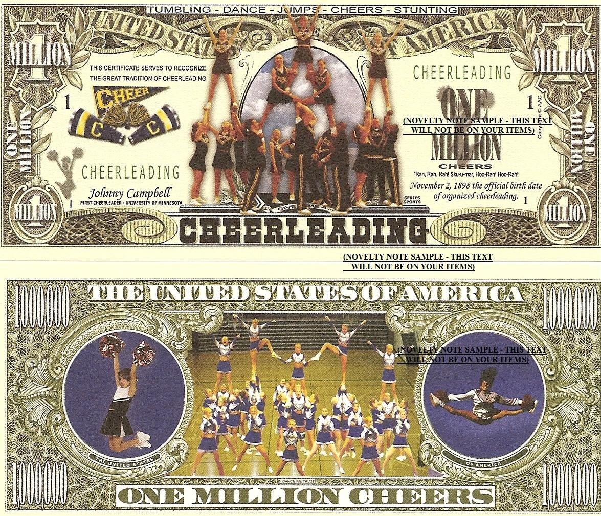 Cheerleading Cheer Leader Million Dollar Bills x 4 New American Sports
