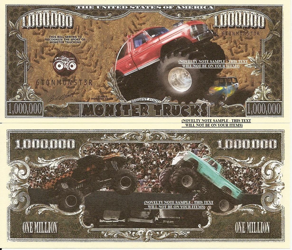Monster Trucks Sport Million Dollar Bills x 4 New American United States