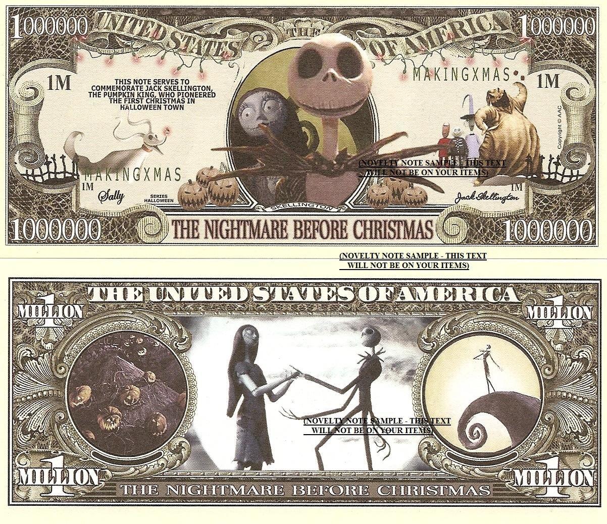 Nightmare Before Christmas Jack Skellington Dollar Bills x 4