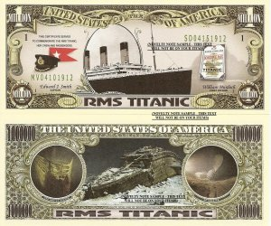RMS Titanic Commemorative One Million Dollar Bills x 4 White Star Line 1912 New