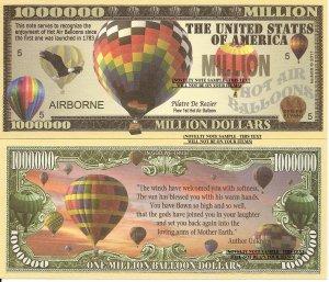 Hot Air Balloon Airborne Million Dollar Bills x 4 Launch 1783 Pilatre De Rozier