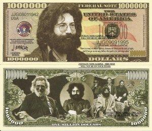 Jerome John Jerry Garcia One Million Dollar Bills x 4 American Singer Songwriter