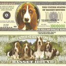 Basset Hound Dog Puppy Lovers Million Dollar Bills x 4 New