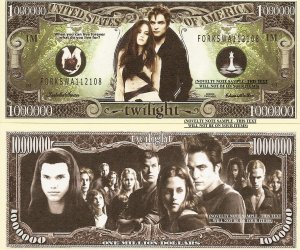 Twilight Vampire One Million Dollar Bills x 4 New Gift