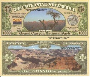 Grand Canyon National Park Yaki Point Dollar Bills x 4 Arizona America