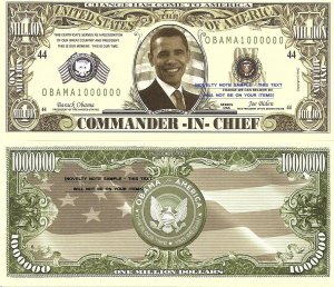 Barack Obama Commander in Chief Million Dollar Bills x 4 American President
