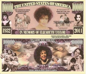 Elizabeth Rosemond Taylor In Memory of Dollar Bills x4 British Hollywood Actress