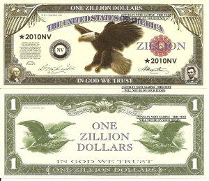 United States Eagle One Zillion Dollar Bills x 4 American