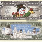 Snowman Let it Snow Million Dollar Bills x 4 New Frosty Winter Wonderland