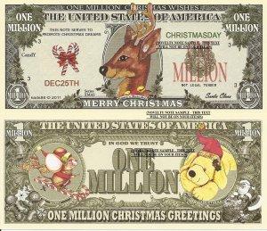 Santas Reindeer Merry Christmas Million Dollar Bills x 4 New Greetings